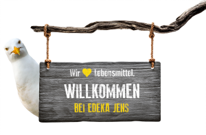 EDEKA Jens Herzlich willkommen Schild Möwe Ostsee